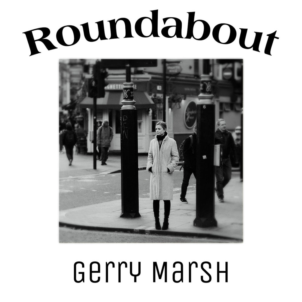 Gerry Marsh book cover - Roundabout - Woman about to crioss the street - mysterious man in a hooded coat following